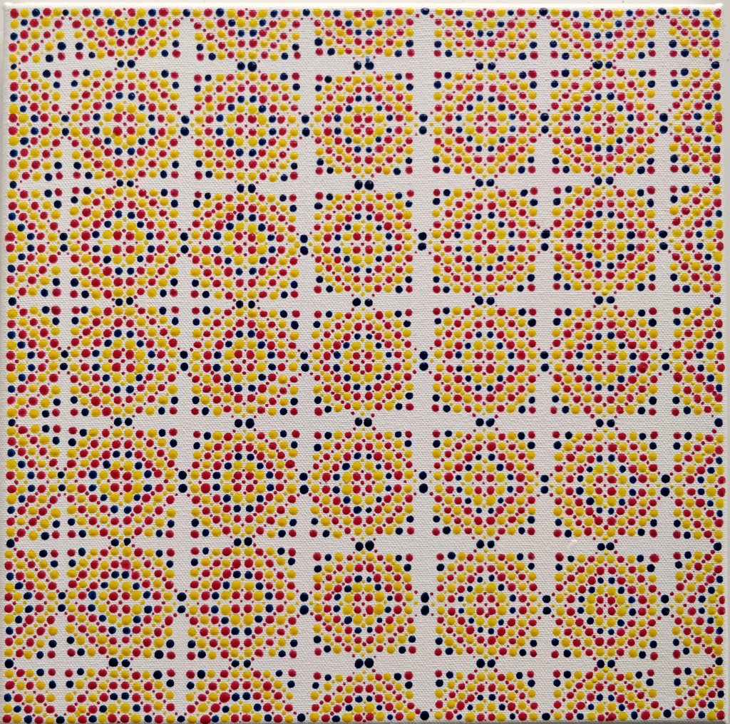 Photo of a painting of patterns of squares made with magenta, yellow and blue dots